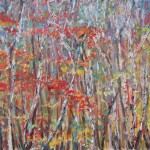 AUTUMN, AUTUMN BIRCH, BIRCH, BIRCH BARKS, CANADIAN, LANDSCAPE, LINDA WOOLVEN, OIL ON WOOD, OIL PAINTING, TREES