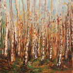 BIRCH BARKS, LANDSCAPE, LINDA WOOLVEN, OIL ON CANVAS, OIL PAINTING, TREES
