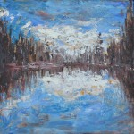 BLUE REFLECTIONS, LAKE, LINDA WOOLVEN, NORTHERN ONTARIO, OIL ON WOOD, OIL PAINTING, ONTARIO