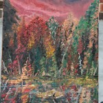 AUTUMN, BURNT AUTUMN REFLECTION, CANADIAN, LANDSCAPE, LINDA WOOLVEN, OIL PAINTING, ONTARIO
