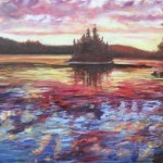 CLOUD, CLOUDS REFLECTED ON LAKE AT SUNSET, LINDA WOOLVEN, OIL PAINTING, SUNSET