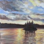 CLOUD, GENTLE SUNSET, LINDA WOOLVEN, NORTHERN ONTARION, OIL PAINTING, ONTARIO, SUNSET