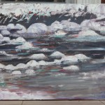 ICE FLOW, LANDSCAPE, LINDA WOOLVEN, OIL PAINTING, SNOWY RIVER