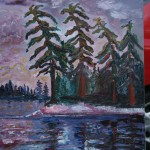 CANADA, LANDSCAPE, LINDA WOOLVEN, LONELY TREES AT SUNSET, OIL PAINTING, ONTARIO