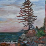 CANADA, LANDSCAPE, LINDA WOOLVEN, OIL PAINTING, ONTARIO, PINE ON ROCKS AT SUNSET