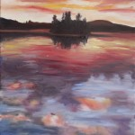 CLOUDS AT SUNSET, LANDSCAPE, LINDA WOOLVEN, OIL PAINTING, QUIET SUNSET
