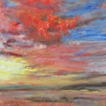CLOUD, CLOUDS AT SUNSET, LINDA WOOLVEN, OIL PAINTING, RED CLOUD