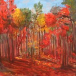AUTUMN, FALL, LANDSCAPE, LINDA WOOLVEN, OIL PAINTING, ONTARIO, RED FALL