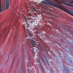FLOWER, HOLLYHOCK, LINDA WOOLVEN, OIL PAINTING, RED FLOWER, RED HOLLYHOCK