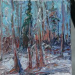 CANADIAN, LANDSCAPE, LINDA WOOLVEN, OIL PAINTING, ONTARIO, SCENE OF WINTER WOODS, WINTER
