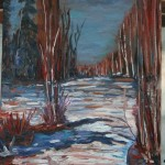 CANADIAN, LANDSCAPE, LINDA WOOLVEN, OIL PAINTING, ONTARIO, SNOWY RIVER