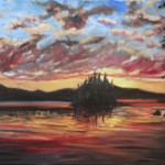 CLOUD, LINDA WOOLVEN, NORTHERN ONTARION, OIL PAINTING, ONTARIO, SUNSET, SUNSET ON LAKE