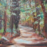 CANADA, COUNTRY ROAD, LANDSCAPE, LINDA WOOLVEN, OIL ON WOOD, OIL PAINTING, ROAD, THE ROAD, TREES, WOODS