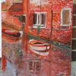 LINDA WOOLVEN, OIL PAINTING, VENICE, VENICE REFLECTIONS