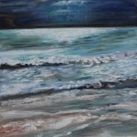 BLUE, LANDSCAPE, LINDA WOOLVEN, OIL PAINTING, WAVES, WAVES RUSHING IN