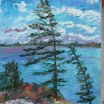 CANADIAN, LANDSCAPE, LINDA WOOLVEN, OIL PAINTING, PINES, WIND SWEPT PINE