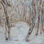 BIRCH, LANDSCAPE, LINDA WOOLVEN, OIL ON WOOD, OIL PAINTING, SNOW, TREES, WINTER, WINTER BIRCH